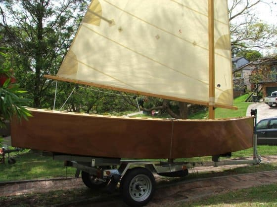 Goat Island Skiff on knockdown kit trialer.