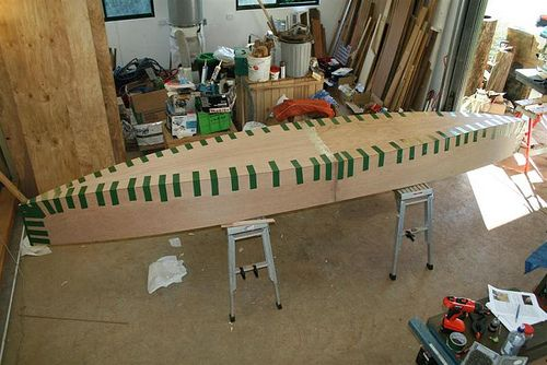 Slideshow of assembling a plywood canoe with duct or gaffer tape. Quick Canoe