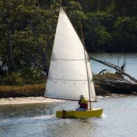 ozracer trying Goat Island skiff sail. Very happy boat despite 105sq ft on a 8ft hull.