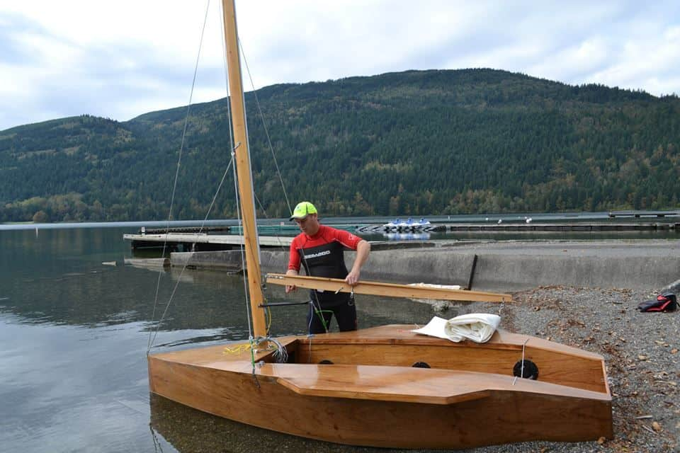 12 sailing dinghy simple plywood boat first launch