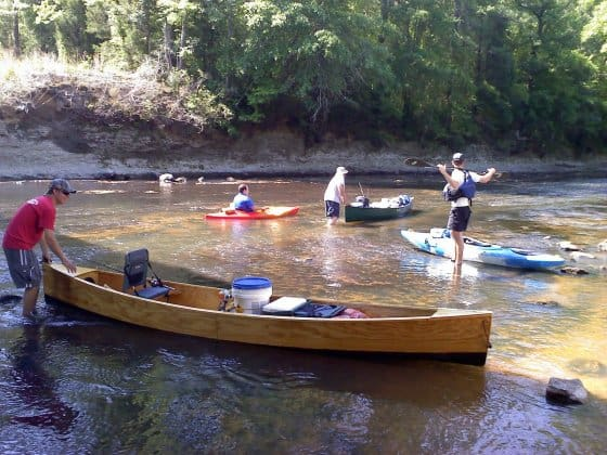 simple homebuilt plywood canoe