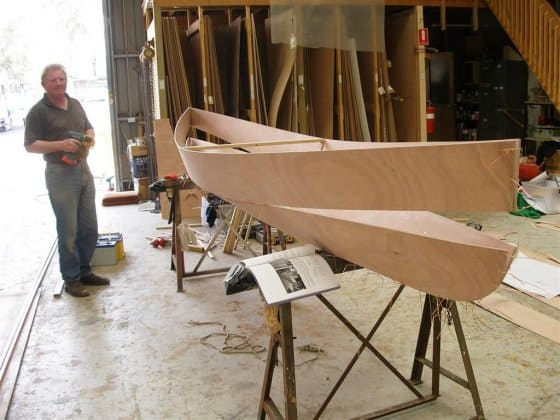Eureka Canoe assembly of bottom and top components. stitch and glue canoe. storerboatplans.com