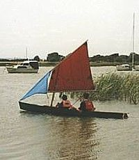 Convert a canoe, kayak or small dinghy into a sailboat: storerboatplans.com