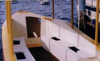 DAyboat Launch Picnic boat you can build yourself. 10hp high thrust outboard. Sleep or camp cruiser: storerboatplans.com